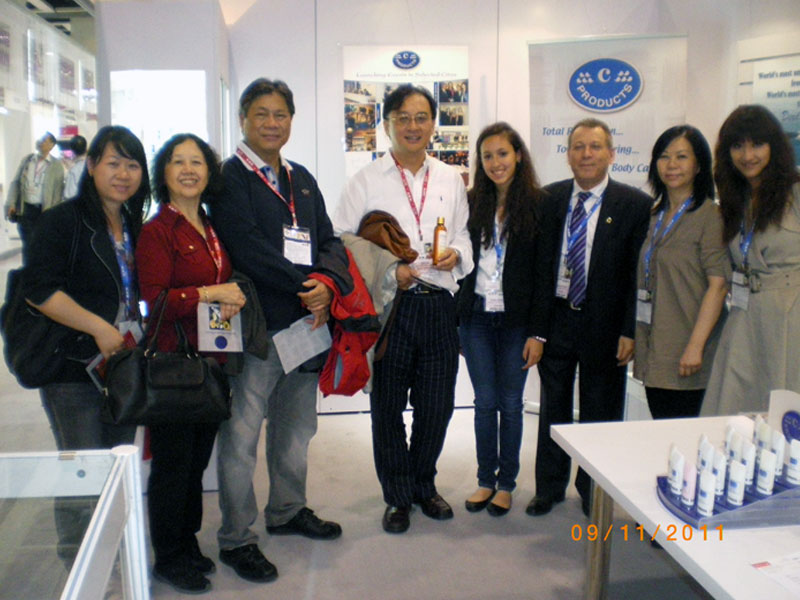 Group photograph at c-Products Booth in Cosmoprof Asia 2011