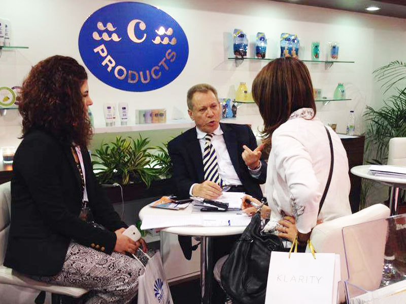 Discussion at c-Products Booth in Beauty World Dubai 2014