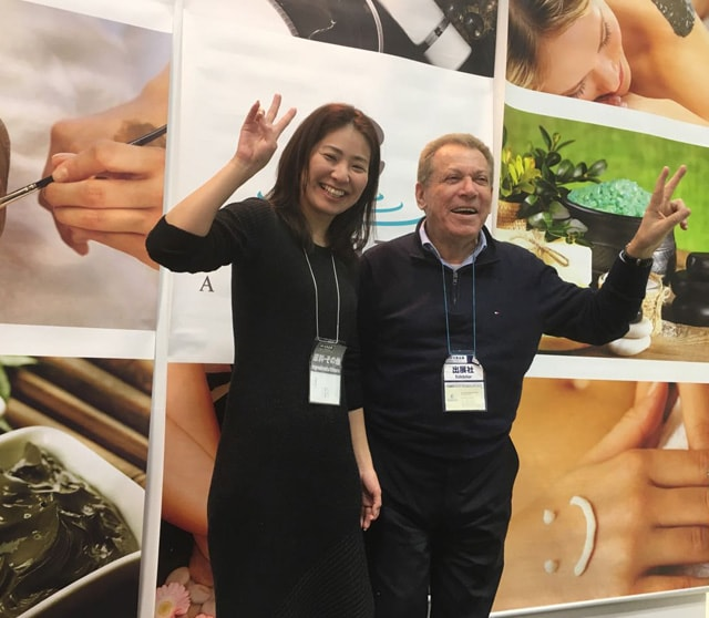 Happy in c-Products Booth at Cosme Tokyo